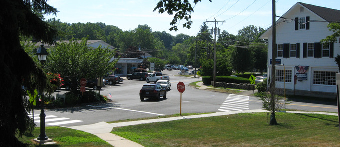 Beautiful Wilton, CT Town Center in the height of summer