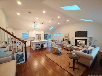 Single Family Home Sold in Westport CT 06880.  house near beach side waterfront with 2 car garage.