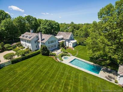 Luxury Mansion Sold in Westport CT 06880. Old colonial house near beach side waterfront with swimming pool and 4 car garage.
