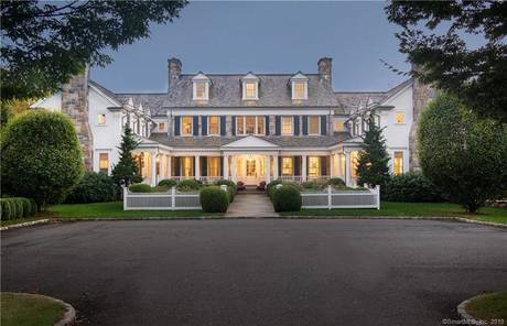 Luxury Mansion Sold in New Canaan CT 06840. Big colonial house near river side waterfront with 4 car garage.