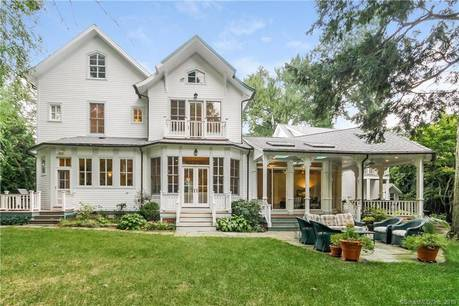 Luxury Single Family Home Sold in Greenwich CT 06878. Old victorian house near waterfront with 2 car garage.