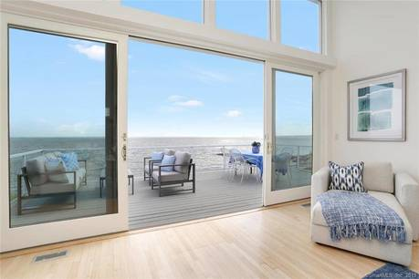 Single Family Home Sold in Fairfield CT 06824. Contemporary house near beach side waterfront with 6 car garage.