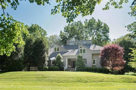Single Family Home Sold in New Canaan CT 06840. Contemporary house near waterfront with 3 car garage.