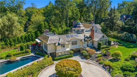 Luxury Single Family Home Sold in Greenwich CT 06831. Old colonial house near waterfront with swimming pool and 5 car garage.