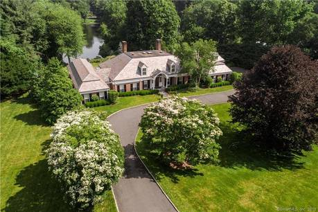 Luxury Mansion Sold in Greenwich CT 06831. Big  house near lake side waterfront with swimming pool and 3 car garage.