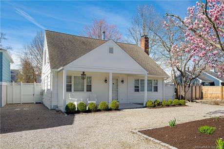 Single Family Home Sold in Westport CT 06880.  cape cod house near beach side waterfront.