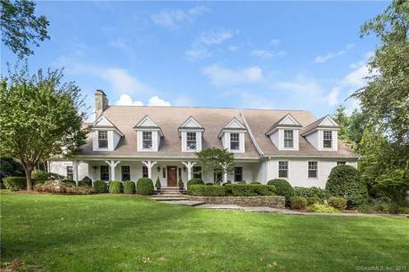 Luxury Single Family Home Sold in Darien CT 06820.  cape cod house near beach side waterfront with swimming pool and 3 car garage.