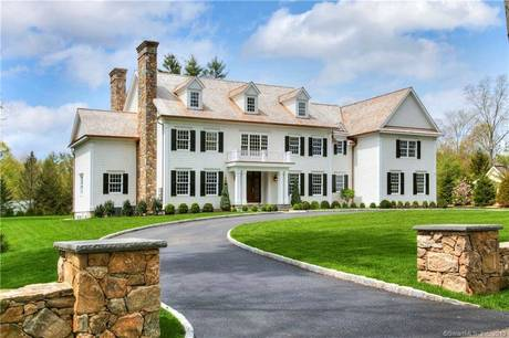 Luxury Mansion Sold in New Canaan CT 06840. Big colonial house near waterfront with 3 car garage.
