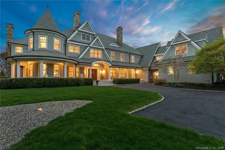 Luxury Mansion Sold in Westport CT 06880. Big colonial house near beach side waterfront with swimming pool and 4 car garage.