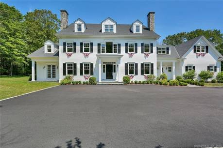 Luxury Mansion Sold in New Canaan CT 06840. Big colonial house near waterfront with 4 car garage.